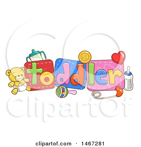 Clipart of Baby Toys and Items with Toddler Text - Royalty Free Vector Illustration by BNP Design Studio