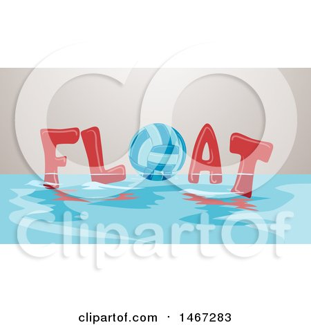 Clipart of a Volleyball in the Word Float on the Surface of Water - Royalty Free Vector Illustration by BNP Design Studio