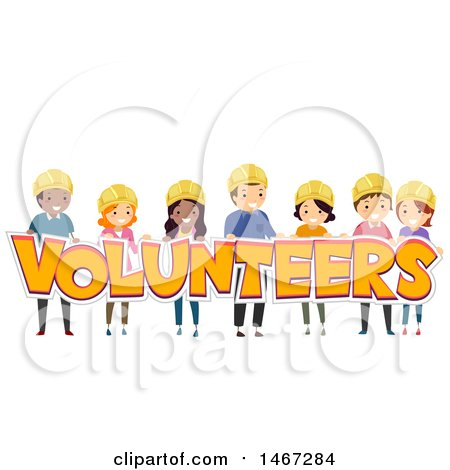 Clipart of a Group of People Holding the Word Volunteers - Royalty Free Vector Illustration by BNP Design Studio