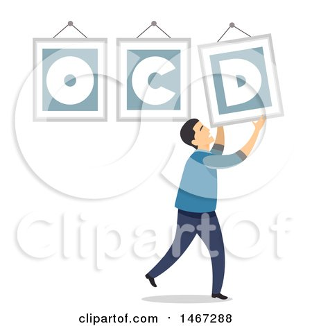 Clipart of a Man Adjusting a Crooked OCD Frame - Royalty Free Vector Illustration by BNP Design Studio