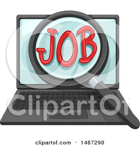 Clipart of a Magnifying Glass over the Word Job on a Laptop Computer Screen - Royalty Free Vector Illustration by BNP Design Studio