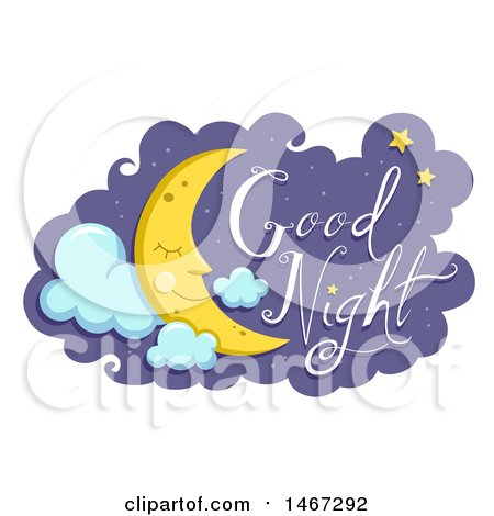 Clipart of a Happy Sleeping Crescent Moon with Good Night Text - Royalty Free Vector Illustration by BNP Design Studio