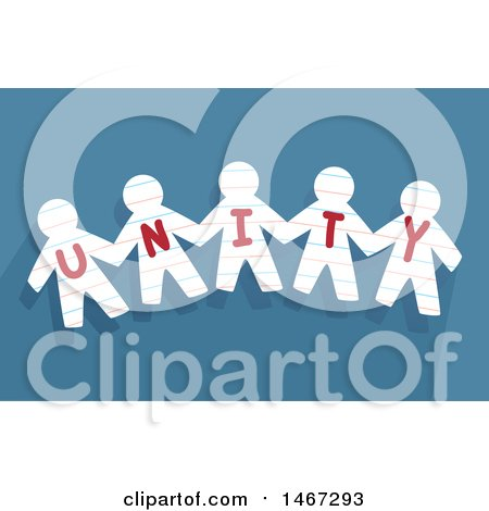 Clipart of a Row of Cut out Paper People with the Word Unity, over Blue - Royalty Free Vector Illustration by BNP Design Studio