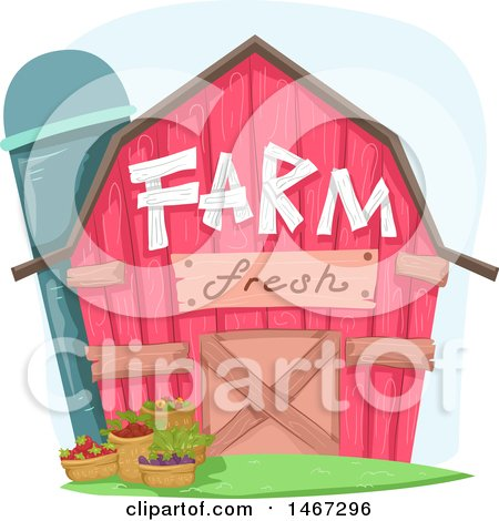Clipart of a Pink Barn with Farm Fresh Text and Bushels of Produce - Royalty Free Vector Illustration by BNP Design Studio
