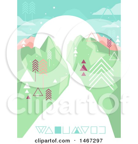 Clipart of a Geometric Landscape with a Road and Mountains - Royalty Free Vector Illustration by BNP Design Studio