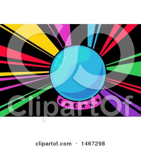 Clipart of a Crystal Ball with Rainbow Rays - Royalty Free Vector Illustration by BNP Design Studio