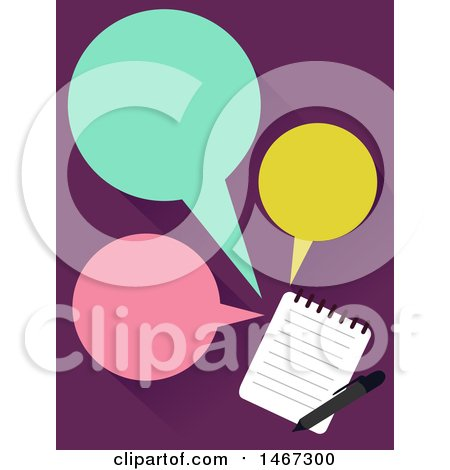 Clipart of a Notepad and Speech Balloons - Royalty Free Vector Illustration by BNP Design Studio