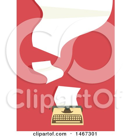 Clipart of a Retro Typewriter with Flying Papers - Royalty Free Vector Illustration by BNP Design Studio