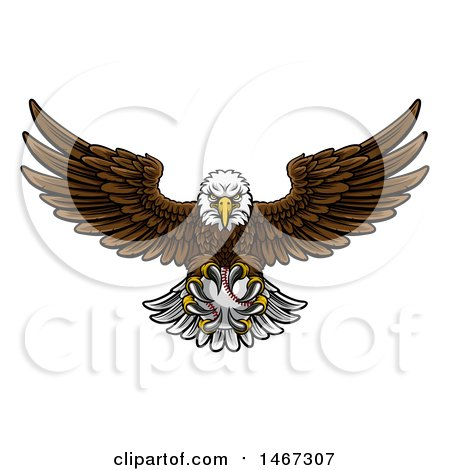 Clipart of a Cartoon Swooping American Bald Eagle with a Baseball in His Talons - Royalty Free Vector Illustration by AtStockIllustration