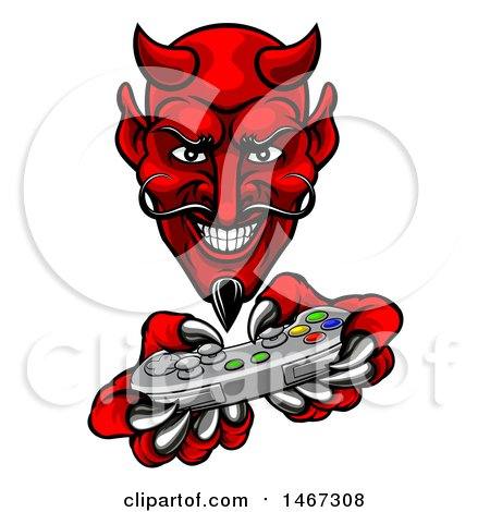 Clipart of a Grinning Evil Red Devil Playing with a Video Game Controller - Royalty Free Vector Illustration by AtStockIllustration