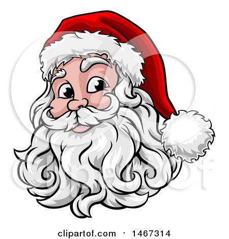 Clipart of a Happy Santa Face with a Hat and Beard - Royalty Free Vector Illustration by AtStockIllustration