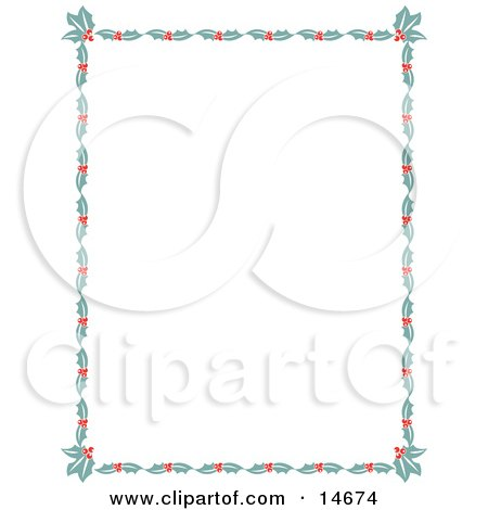 Stationery Border Of Holly Leaves And Berries Around A White Background Retro Clipart Illustration Posters, Art Prints