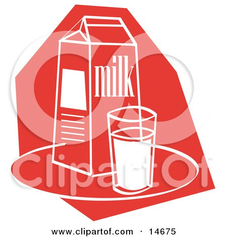 Still Life Of A Whole Glass Of Milk By A Milk Carton Clipart Illustration by Andy Nortnik