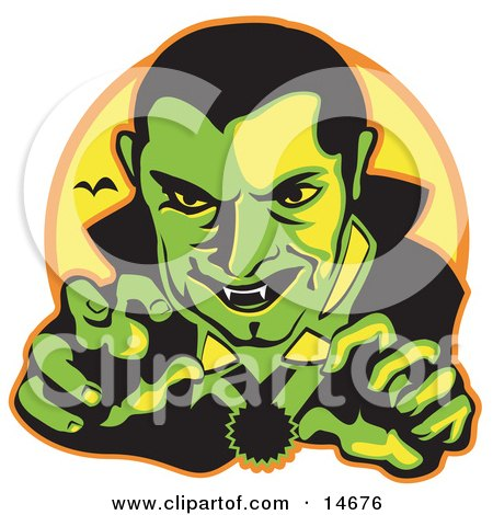 Male Vampire With Dark Hair Slicked Back, Reaching Outwards While Grinning And Showing His Fangs As A Vampire Bat Flies In The Distance Clipart Illustration by Andy Nortnik