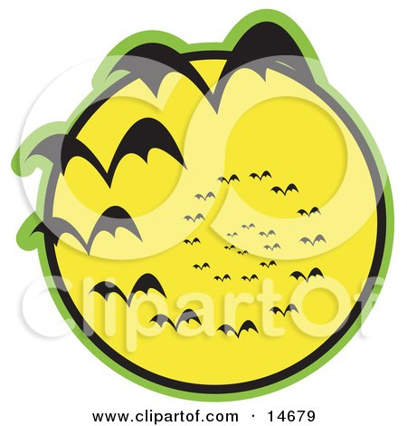 Continuous Vortex Spiral Of Vampire Bats Flying In Silhouette Against A Bright Full Yellow Moon And Slowly Disappearing In The Distance Clipart Illustration by Andy Nortnik