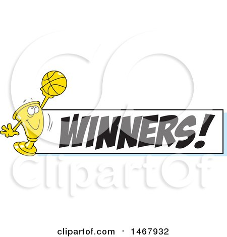 Clipart of a Golden Trophy Mascot Holding up a Basketball by a Winners Banner - Royalty Free Vector Illustration by Johnny Sajem