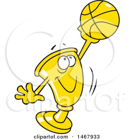 Clipart of a Golden Trophy Mascot Holding up a Basketball - Royalty Free Vector Illustration by Johnny Sajem