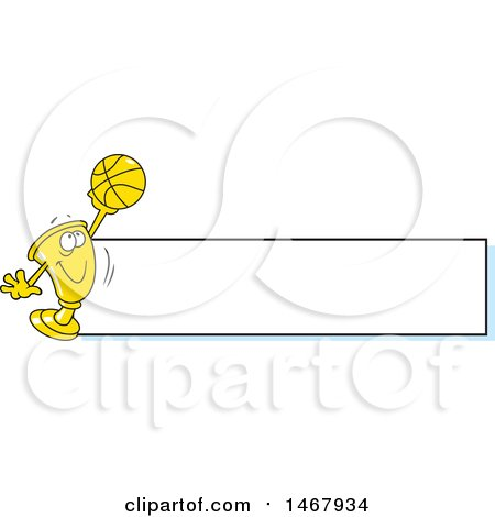 Clipart of a Golden Trophy Mascot Holding up a Basketball by a Blank Banner - Royalty Free Vector Illustration by Johnny Sajem