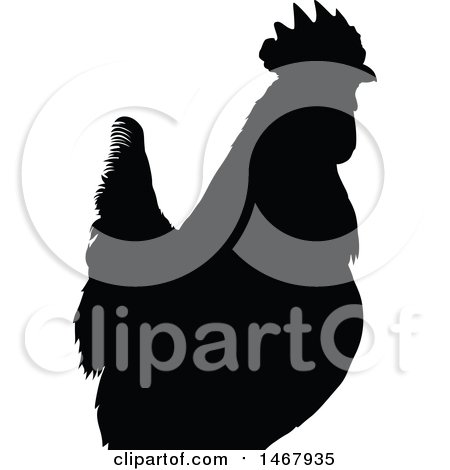 Clipart of a Black and White Cropped Rooster - Royalty Free Vector Illustration by dero
