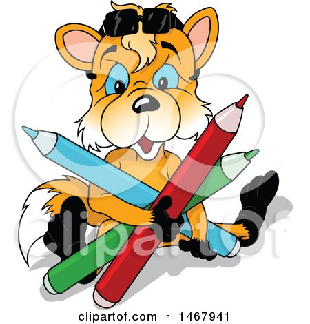 Clipart of a Blue Eyed Fox Sitting with Giant Colored Pencils - Royalty Free Vector Illustration by dero