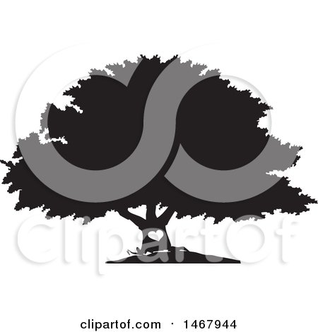 Clipart of a Tree with a Heart on the Trunk, Black and White Silhouette - Royalty Free Vector Illustration by Johnny Sajem
