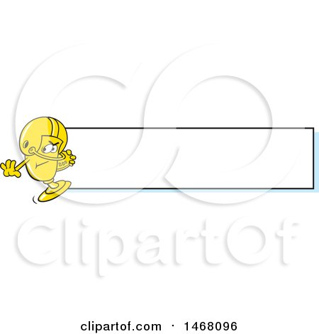 Clipart of a Golden Trophy Cup Mascot Playing Football by a Blank Banner - Royalty Free Vector Illustration by Johnny Sajem