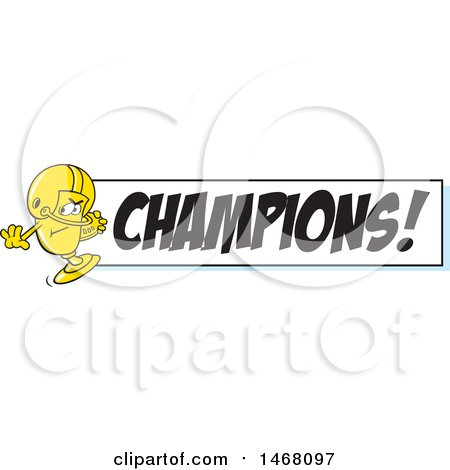 Clipart of a Golden Trophy Cup Mascot Playing Football by a Champions Banner - Royalty Free Vector Illustration by Johnny Sajem