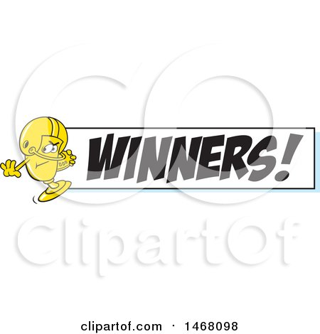 Clipart of a Golden Trophy Cup Mascot Playing Football by a Winners Banner - Royalty Free Vector Illustration by Johnny Sajem