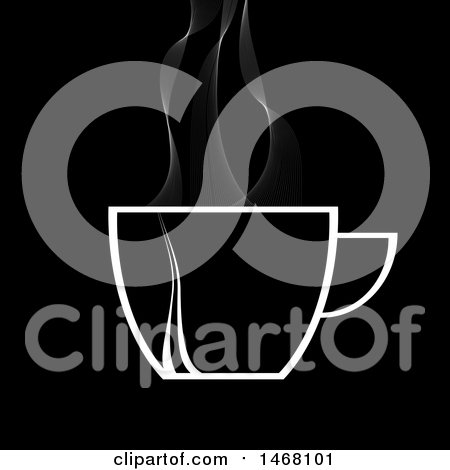 Clipart of a White Steamy Hot Coffee Cup on a Black Background - Royalty Free Vector Illustration by elaineitalia