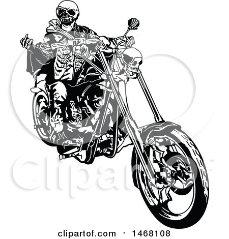 Clipart of a Skeleton Biker - Royalty Free Vector Illustration by dero