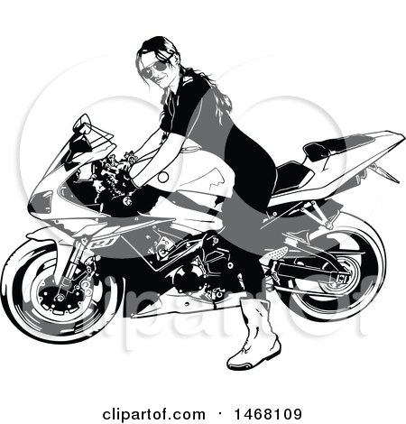 Clipart of a Female Biker - Royalty Free Vector Illustration by dero