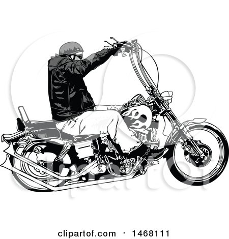 Clipart of a Biker in Profile - Royalty Free Vector Illustration by dero