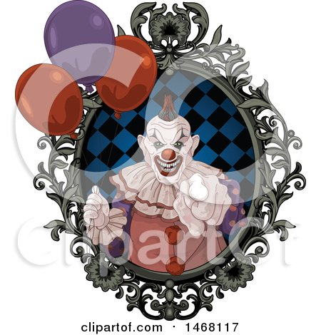 Clipart of a Scary Evil Clown Pointing Outwards from a Frame with Party Balloons - Royalty Free Vector Illustration by Pushkin