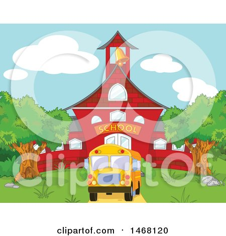 Clipart of a Bus in Front of a Red School Building - Royalty Free Vector Illustration by Pushkin