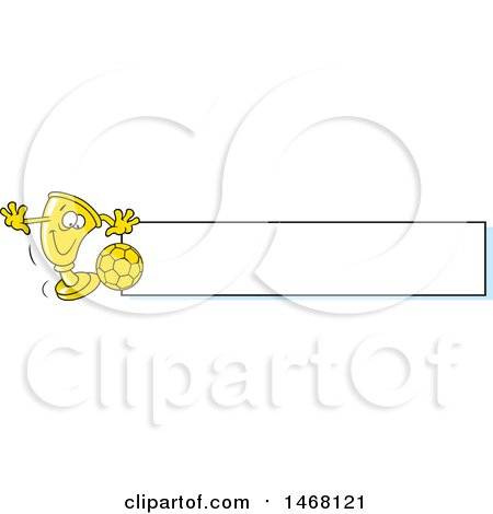 Clipart of a Golden Trophy Cup Mascot Playing Soccer by a Blank Banner - Royalty Free Vector Illustration by Johnny Sajem