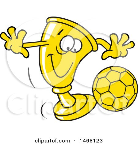 Clipart of a Golden Trophy Cup Mascot Playing Soccer - Royalty Free Vector Illustration by Johnny Sajem