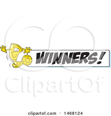 Clipart of a Golden Trophy Cup Mascot Playing Soccer by a Winners Banner - Royalty Free Vector Illustration by Johnny Sajem