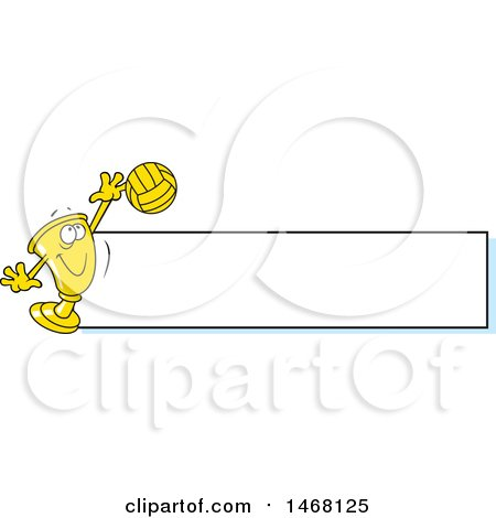 Clipart of a Golden Trophy Cup Mascot Playing Volleyball by a Blank Banner - Royalty Free Vector Illustration by Johnny Sajem