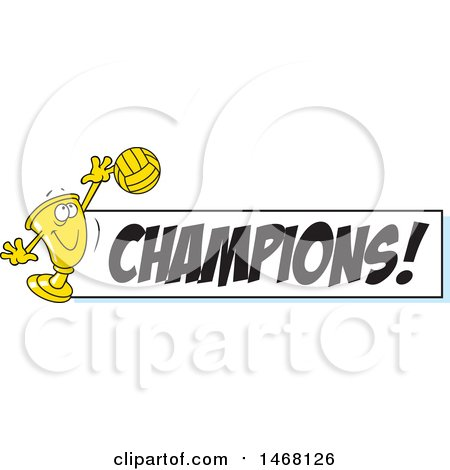 Clipart of a Golden Trophy Cup Mascot Playing Volleyball by a Champions Banner - Royalty Free Vector Illustration by Johnny Sajem