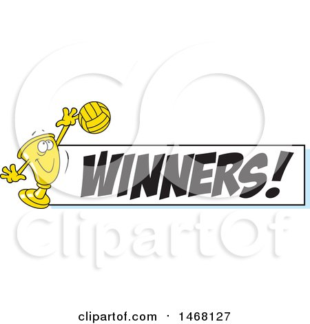 Clipart of a Golden Trophy Cup Mascot Playing Volleyball by a Winners Banner - Royalty Free Vector Illustration by Johnny Sajem