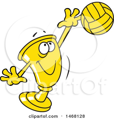 Clipart of a Golden Trophy Cup Mascot Playing Volleyball - Royalty Free Vector Illustration by Johnny Sajem
