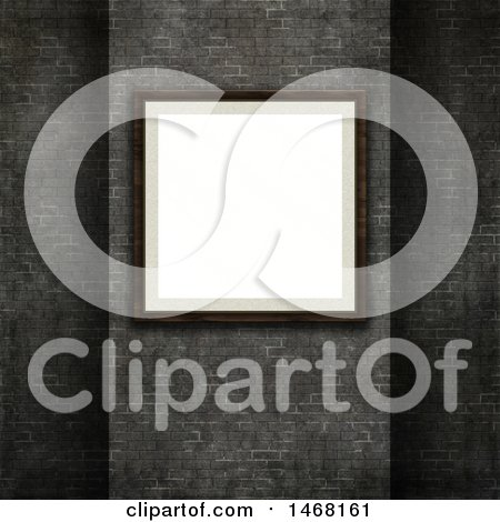 Clipart of a 3d Blank Picture Frame on a Brick Wall - Royalty Free Illustration by KJ Pargeter
