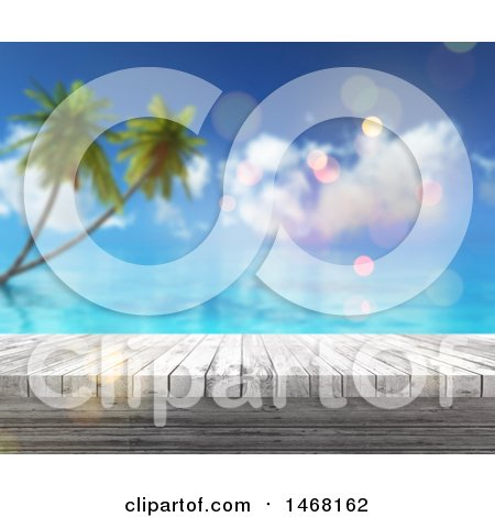 Clipart of a White Wood Surface over a Blurred Tropical Beach Scene - Royalty Free Illustration by KJ Pargeter