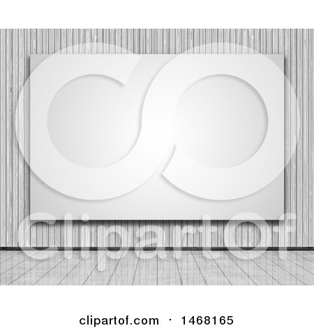 Clipart of a Large 3d Blank Canvas on a Wall in a Wooden Room - Royalty Free Illustration by KJ Pargeter