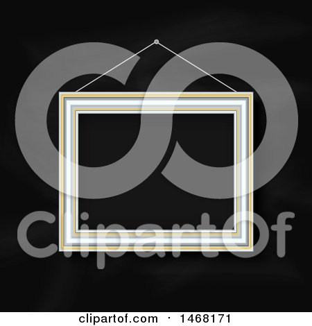 Clipart of a Hanging Blank Picture Frame on a Blackboard Background - Royalty Free Vector Illustration by KJ Pargeter