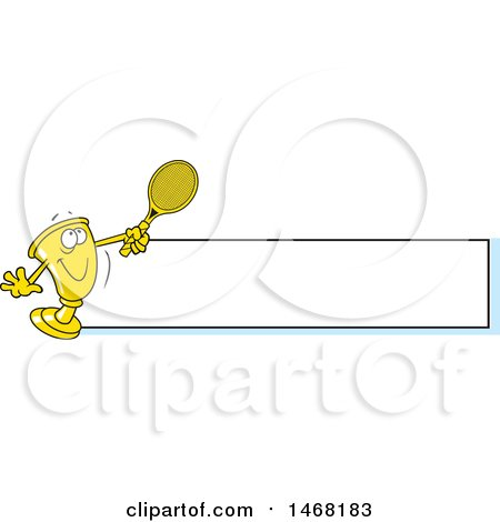 Clipart of a Golden Trophy Mascot Playing Tennis by a Blank Banner - Royalty Free Vector Illustration by Johnny Sajem