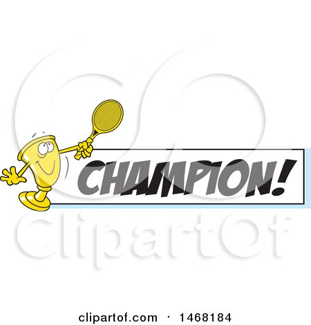 Clipart of a Golden Trophy Mascot Playing Tennis by a Champion Banner - Royalty Free Vector Illustration by Johnny Sajem