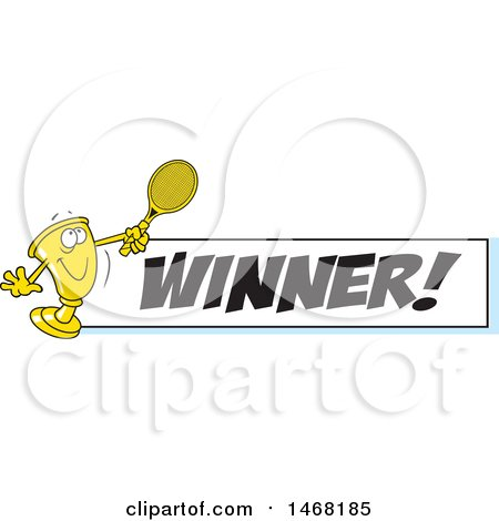 Clipart of a Golden Trophy Mascot Playing Tennis by a Winner Banner - Royalty Free Vector Illustration by Johnny Sajem