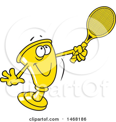 Clipart of a Golden Trophy Mascot Playing Tennis - Royalty Free Vector Illustration by Johnny Sajem