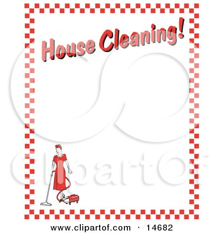 """Woman Vacuuming With A Canister Vacuum With Text Reading """"House Cleaning!"""" Borderd By Red Checkers Clipart Illustration Posters, Art Prints"""